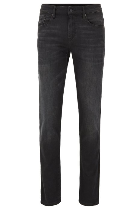 Extra-slim-fit jeans in black stretch cotton, Black