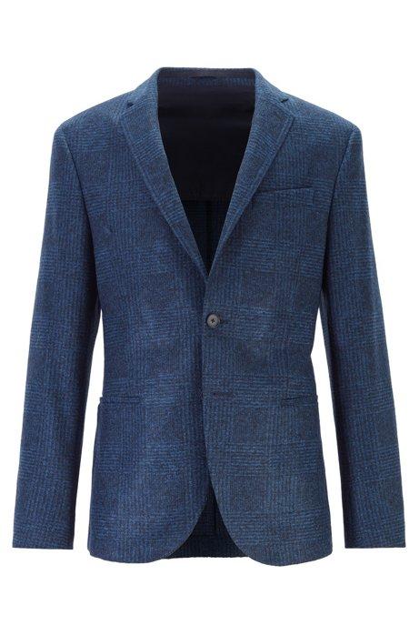 Slim-fit jacketin checked jersey with stretch lining, Dark Blue