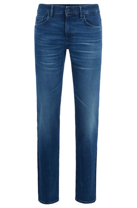Extra-slim-fit jeans in super-stretch indigo denim, Dark Blue
