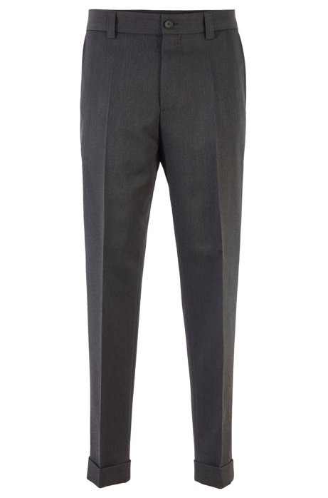 Cropped relaxed-fit trousers in virgin wool, Dark Grey