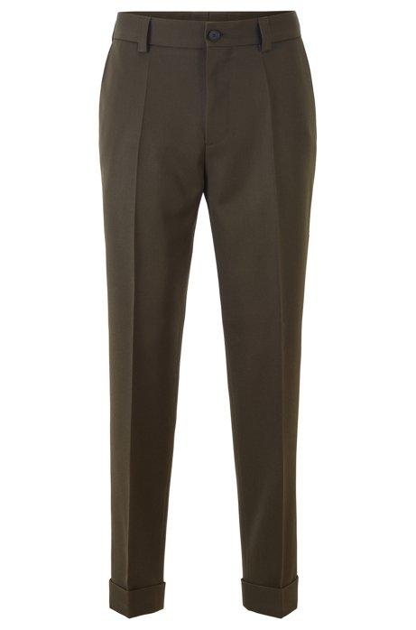 Pantalones tobilleros relaxed fit de lana virgen, Cal