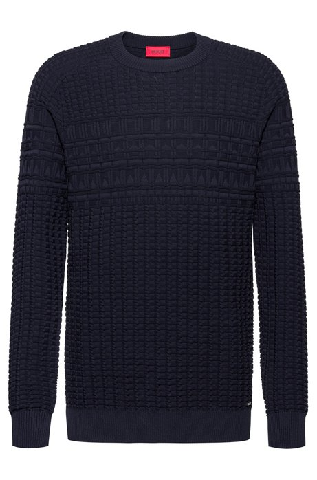 Regular-fit cotton sweater with knitted structure, Dark Blue
