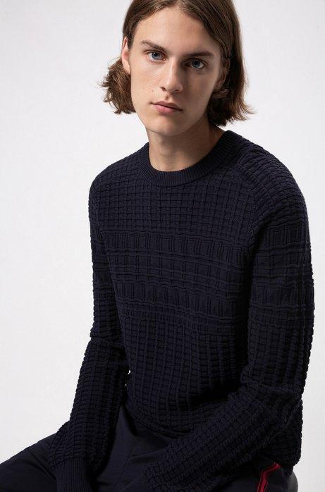 Pull Regular Fit en coton à la structure tricotée, Bleu foncé