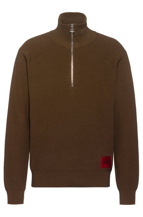 Ovesized-fit sweater in military style with logo label, Brown