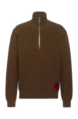 Oversized-fit trui in legerstijl met logolabel, Bruin