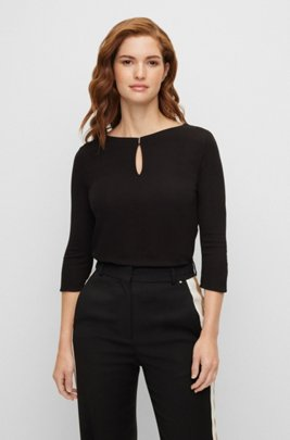Crepe-jersey top with hardware-trimmed keyhole detail, Black