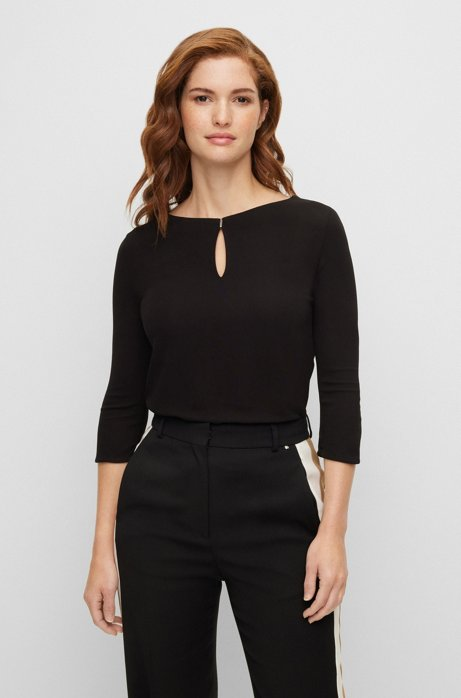 Crepe jersey top with keyhole neckline, Black