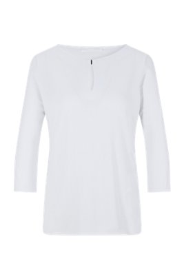 Crepe-jersey top with hardware-trimmed keyhole detail, White