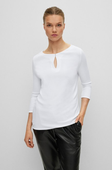 Crepe jersey top with keyhole neckline, White