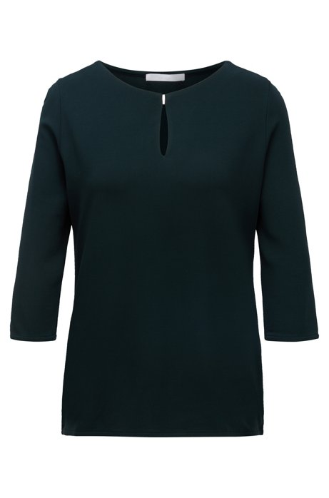 Crepe jersey top with keyhole neckline, Dark Green