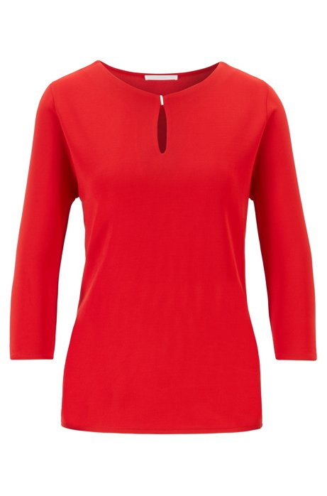 Crepe jersey top with keyhole neckline, Red