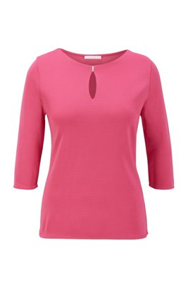 Crepe-jersey top with hardware-trimmed keyhole detail, Pink