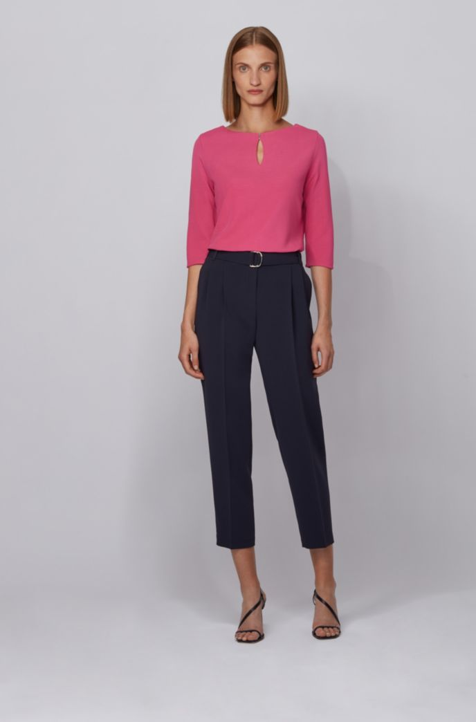 Crepe-jersey top with hardware-trimmed keyhole detail