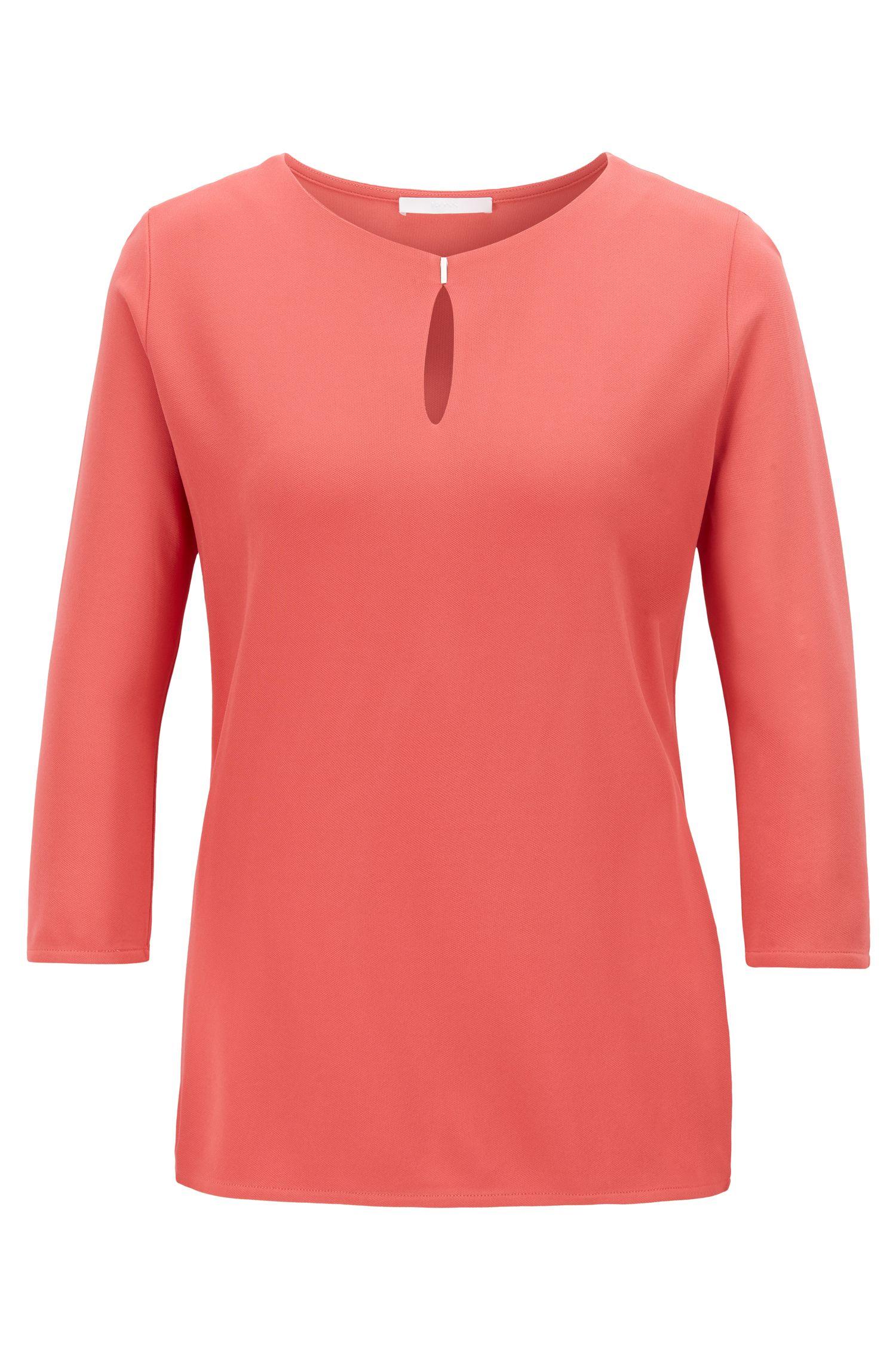 Top aus Krepp-Jersey mit Schlüsselloch-Ausschnitt, Pink