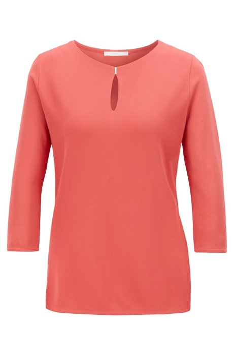 Crepe jersey top with keyhole neckline, Pink