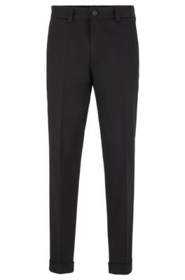 Relaxed-Fit Hose aus Stretch-Baumwolle in Cropped-Länge, Schwarz