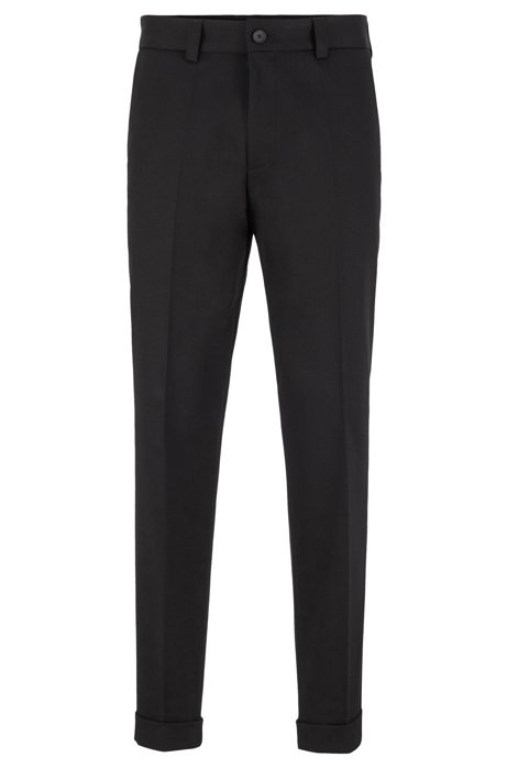 Relaxed-Fit Hose aus Stretch-Baumwolle in Cropped-Länge, Schwarz