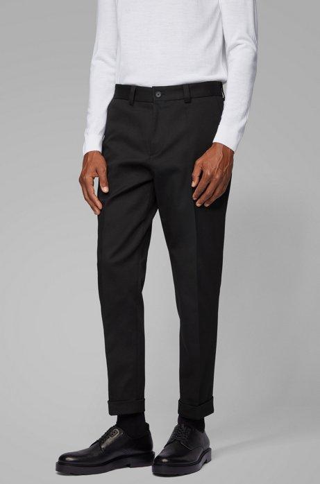 Kortere relaxed-fit broek van stretchkatoen, Zwart