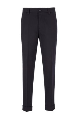 Relaxed-fit trousers with cropped length in stretch cotton, ダークブルー