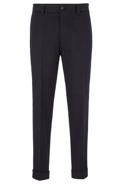 Pantaloni relaxed fit in cotone elasticizzato con lunghezza alla caviglia, Blu scuro