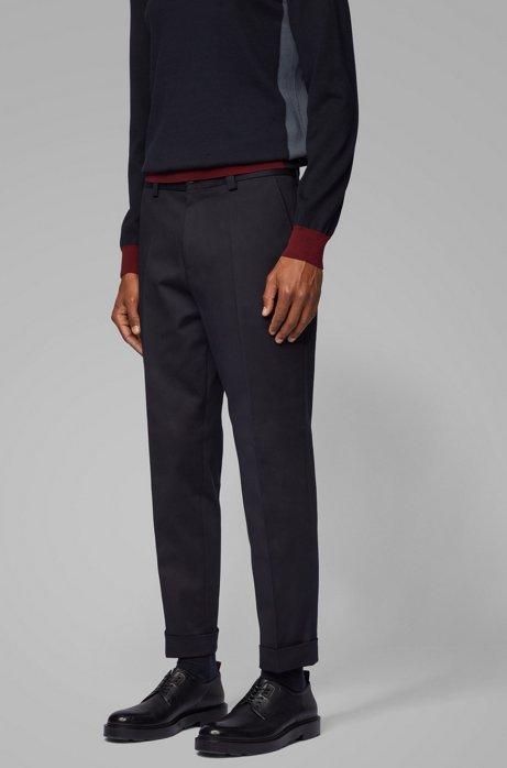 Kortere relaxed-fit broek van stretchkatoen, Donkerblauw