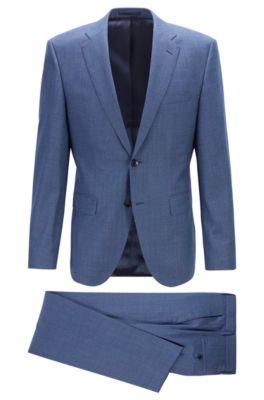 Costume Regular Fit en laine vierge à micromotif, Bleu foncé