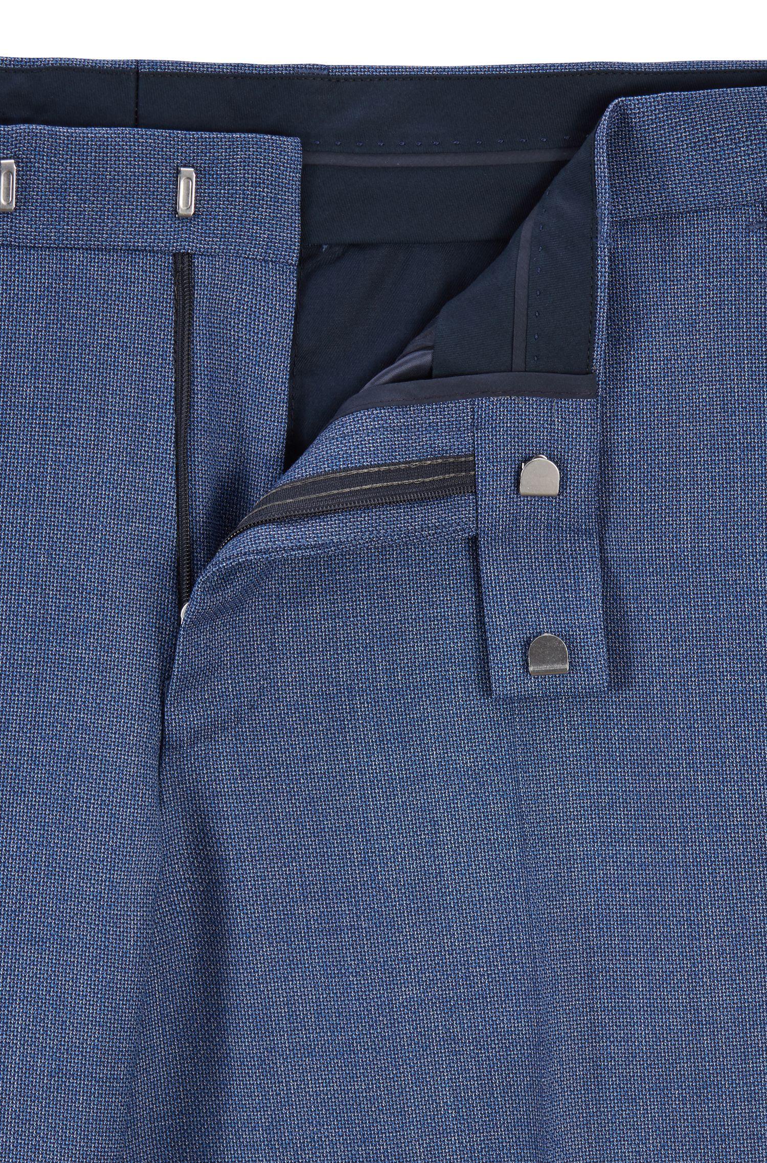 Dezent gemusterter Regular-Fit Anzug aus Schurwolle, Dunkelblau