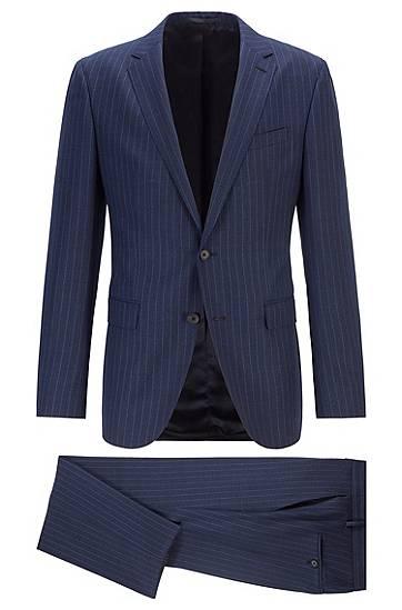 boss  Costume Slim Fit en laine vierge à rayures verticales Slim fit Revers... par LeGuide.com Publicité