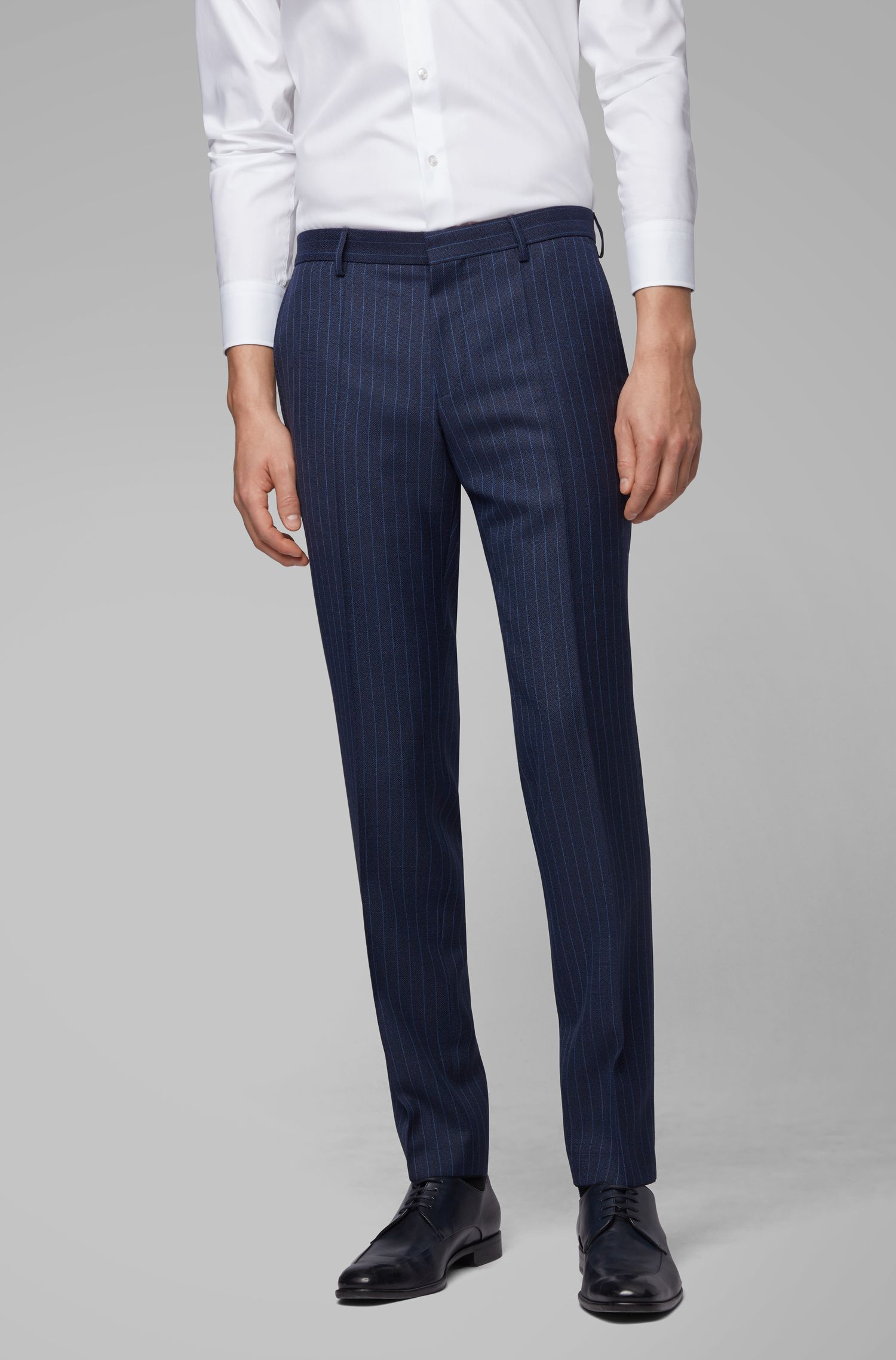 Slim-fit suit in virgin wool with vertical stripe, Dark Blue