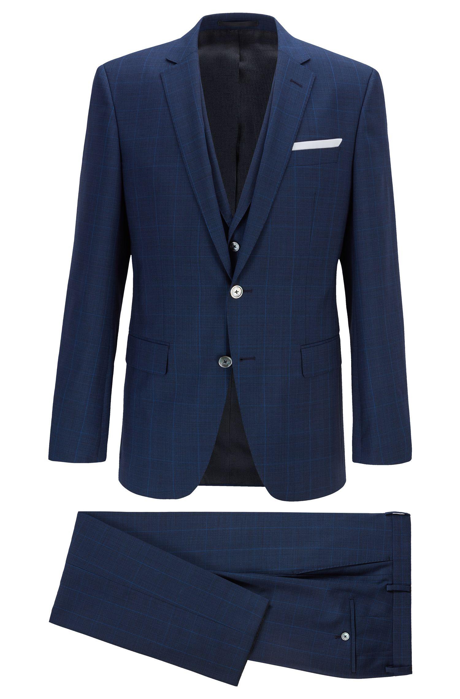 Driedelig slim-fit kostuum van geruite scheerwol, Donkerblauw