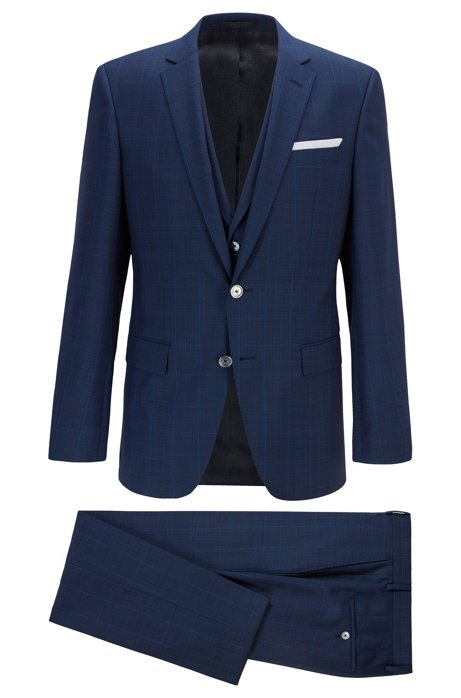 Slim-fit three-piece suit in checked virgin wool, Dark Blue
