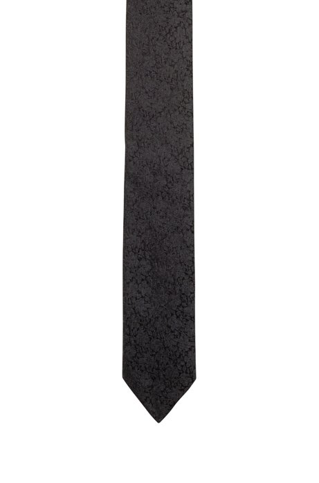 Jacquard-woven floral tie with silk, Patterned