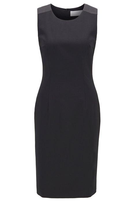 Shift dress in Italian stretch wool, Black