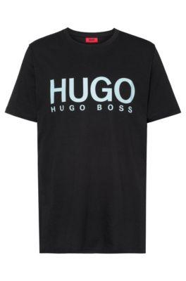 T-shirt à logo en jersey simple de coton, Noir