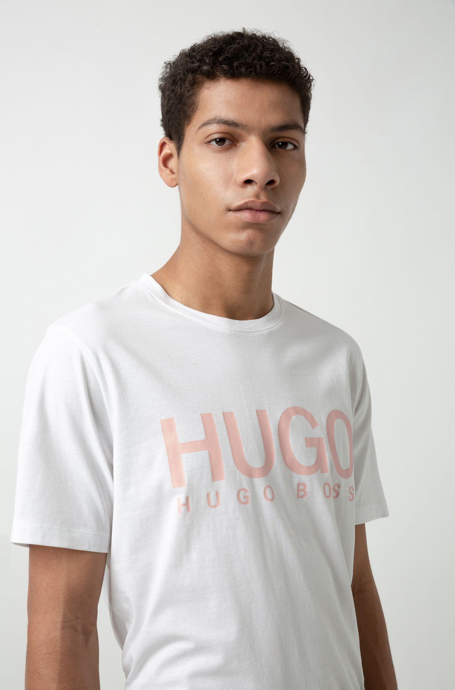 T-shirt à logo en jersey simple de coton, Blanc