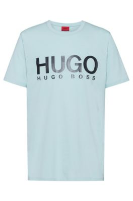 Camiseta con logo en punto sencillo de algodón, Turquesa