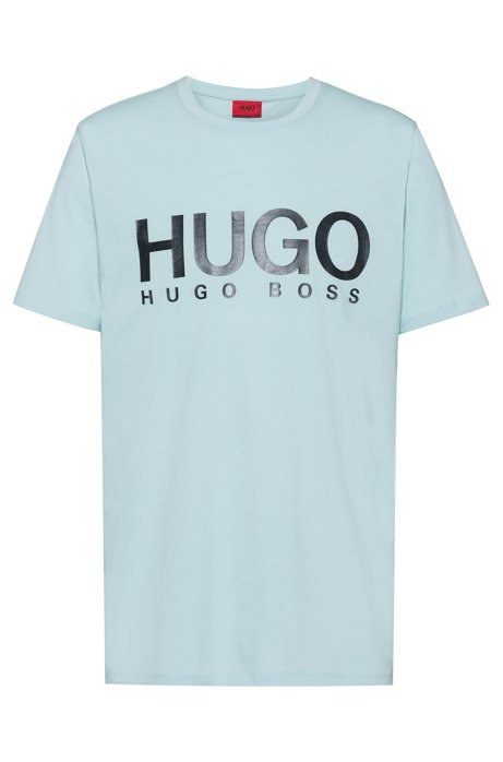 Logo T-shirt in single-jersey cotton, Turquoise