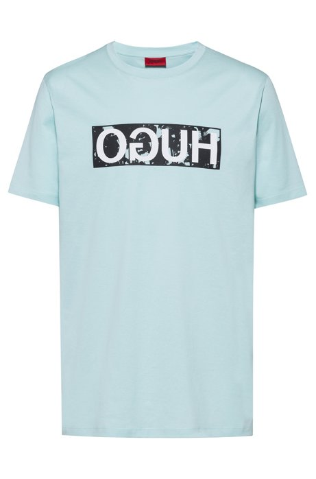 Reverse-logo T-shirt in cotton jersey, Turquoise