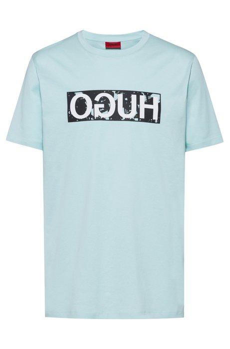 T-shirt van katoenen jersey met gespiegeld logo, Turkoois