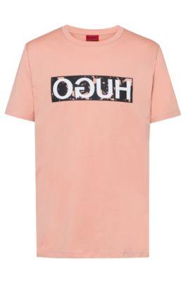 T-shirt à logo inversé en jersey de coton, Orange clair