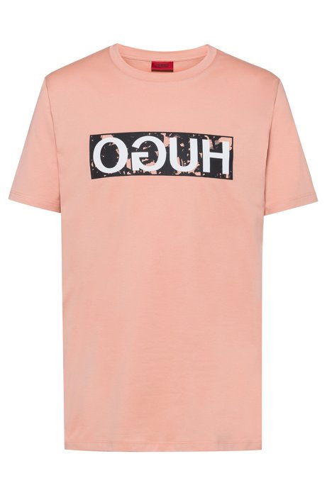 Reverse-logo T-shirt in cotton jersey, Light Orange