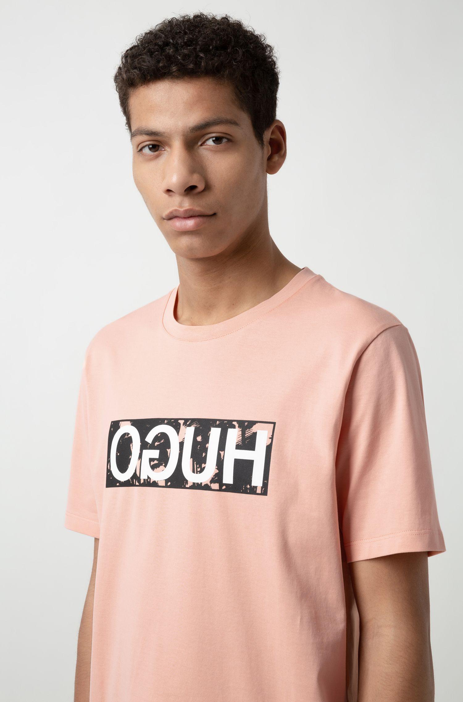 T-shirt in jersey di cotone con logo reversed, Arancio chiaro