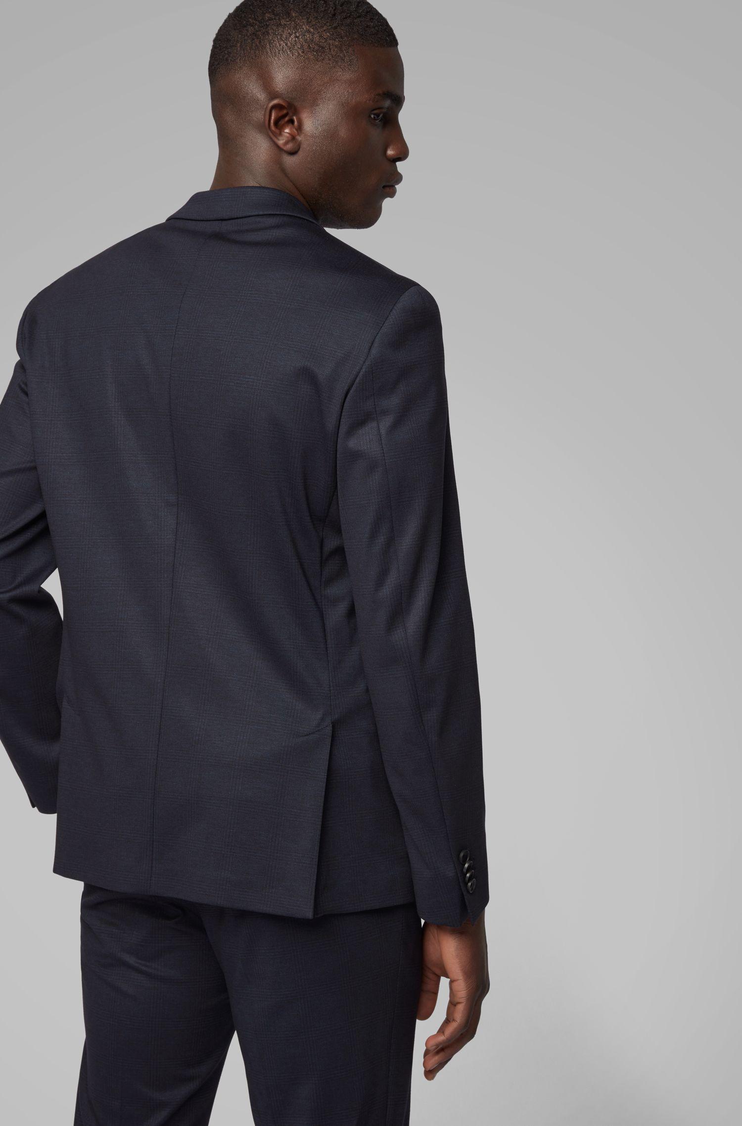 Costume Slim Fit en tissu stretch à carreaux, Bleu foncé