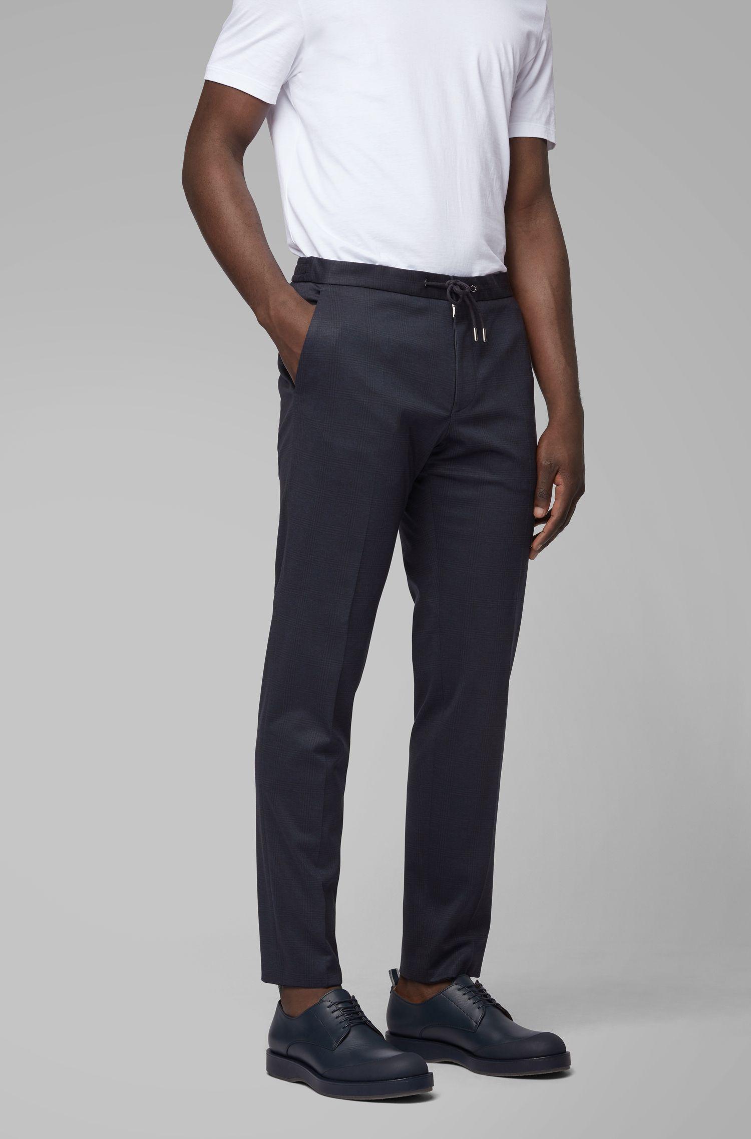 Slim-fit kostuum van stretchmateriaal met ruitdessin, Donkerblauw