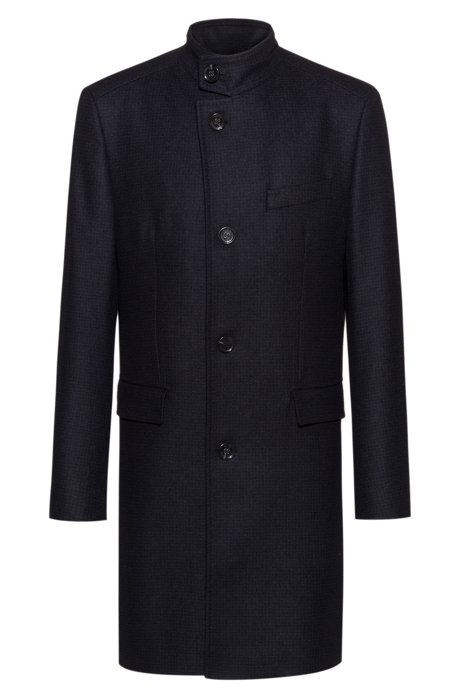 Regular-fit wool-blend coat with stand collar, Dark Blue