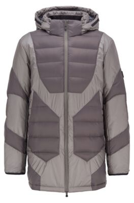 Down-filled padded parka with technical details, Anthracite