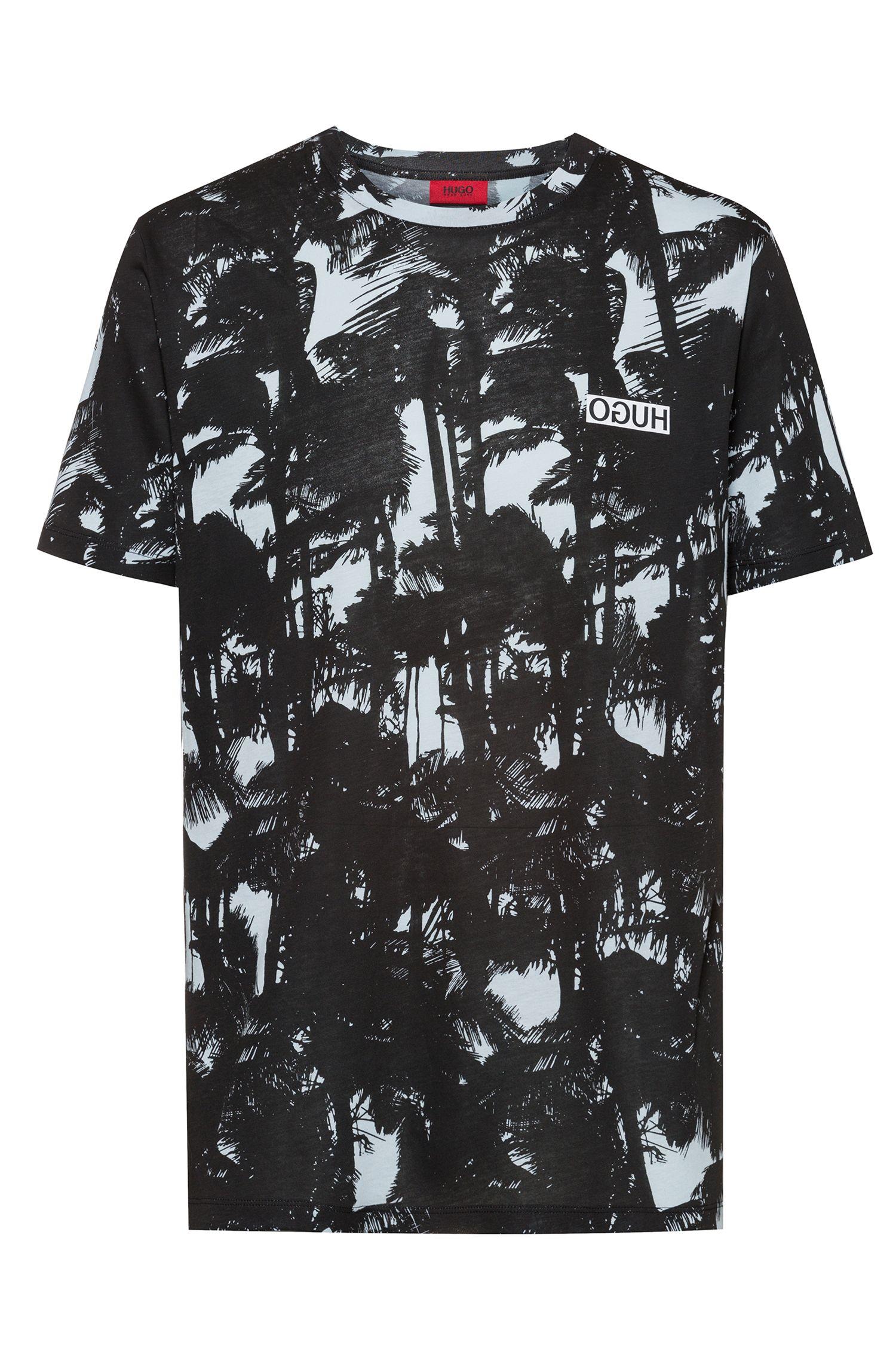 T-shirt en jersey de coton à imprimé palmiers, Fantaisie