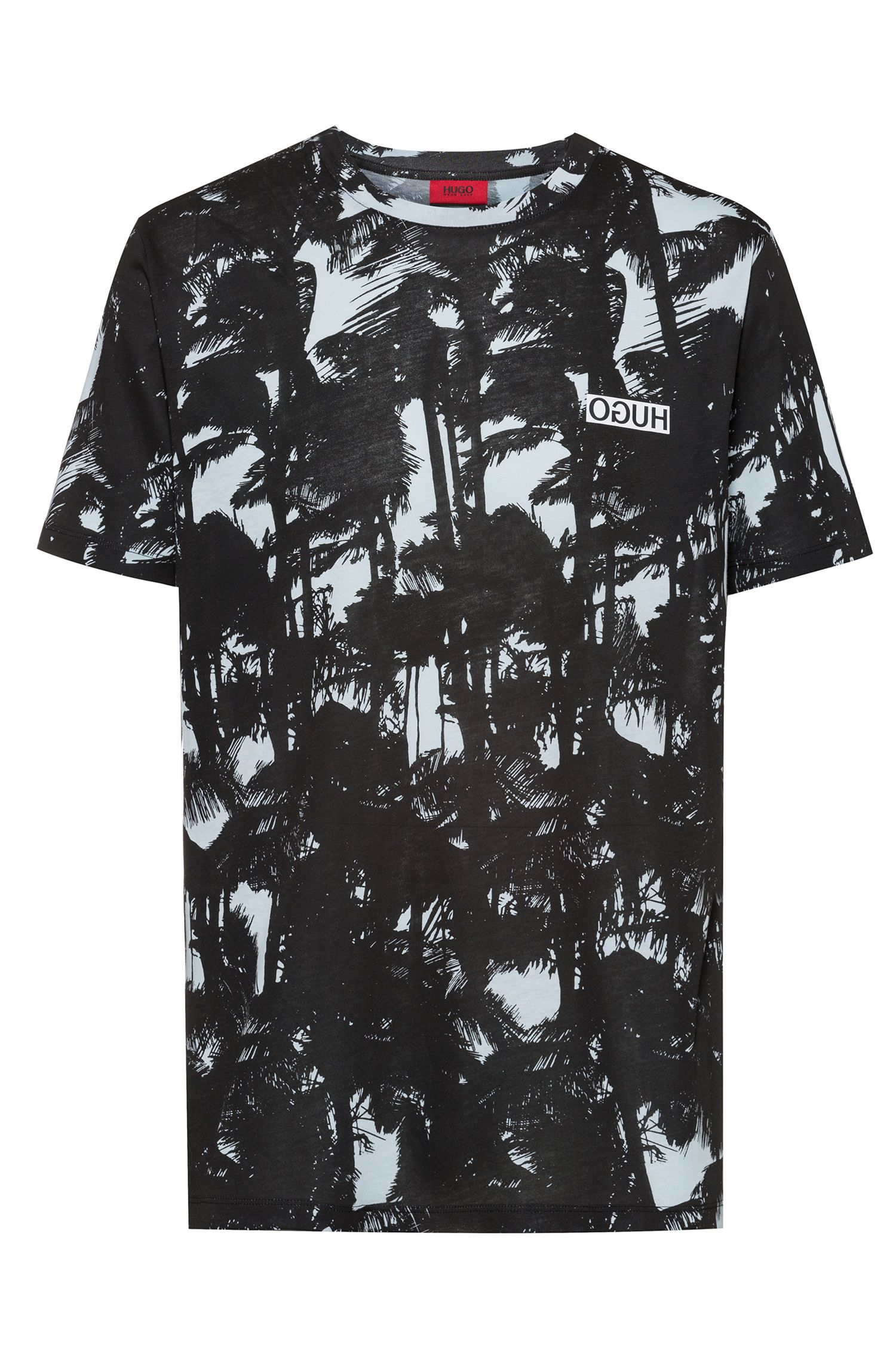 T-Shirt aus Baumwoll-Jersey mit Palmen-Print, Gemustert
