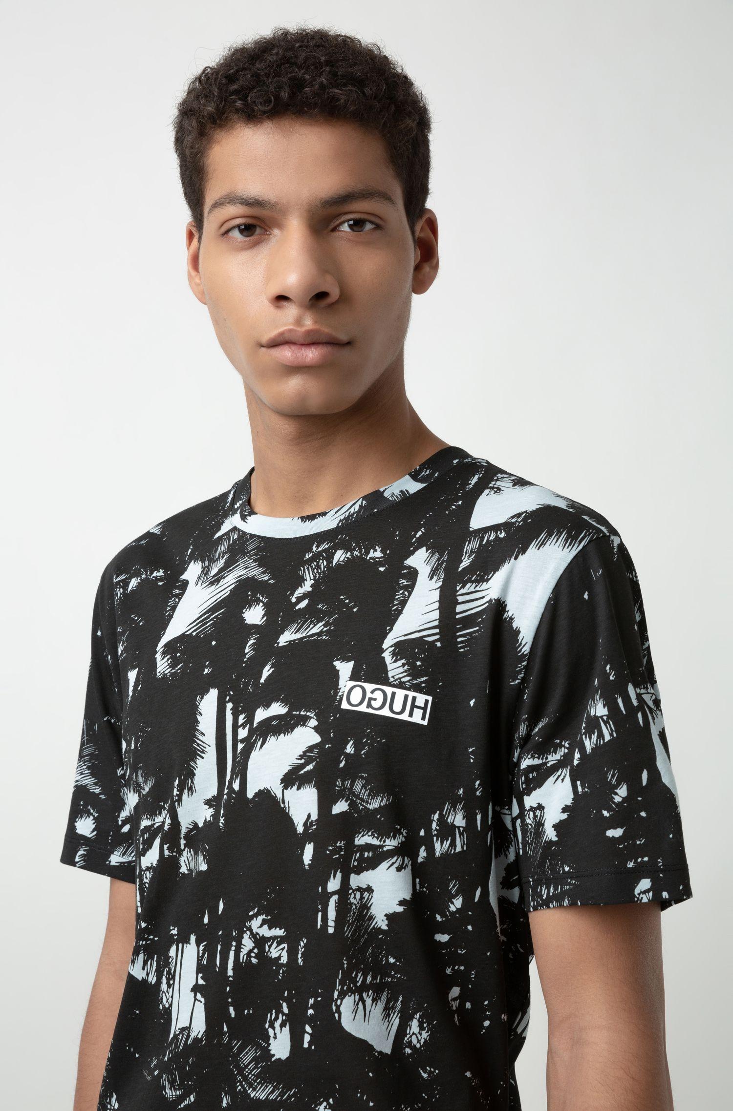 T-shirt van katoenen jersey met palmboomprint, Bedrukt