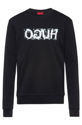 Reverse-logo sweatshirt in cotton interlock, Black